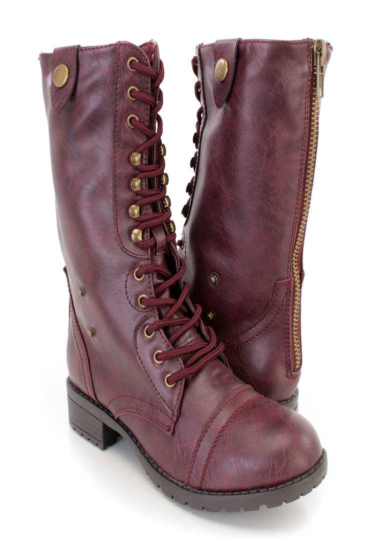Wine Lace Up Combat Boots Faux Leather