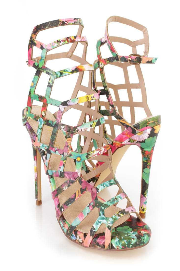 Floral Strappy Cut Out Single Sole High Heels Faux Leather