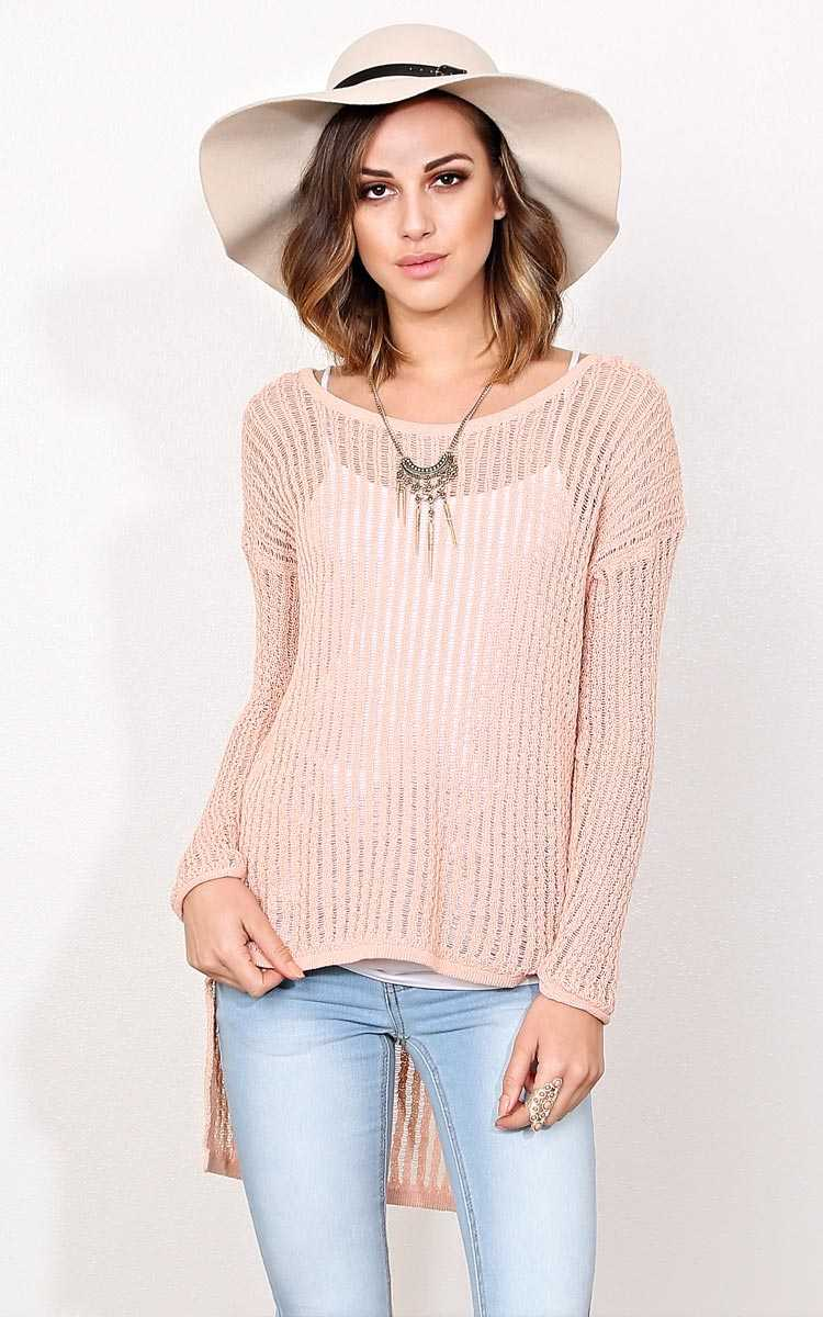 Clarissa Slub Knit Sweater - - Peach in Size by Styles For Less