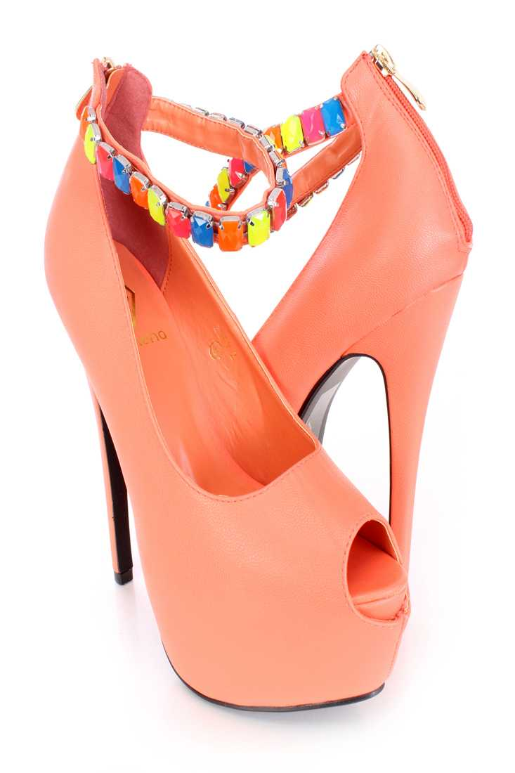 Coral Beaded Ankle Strap Heels Faux Leather