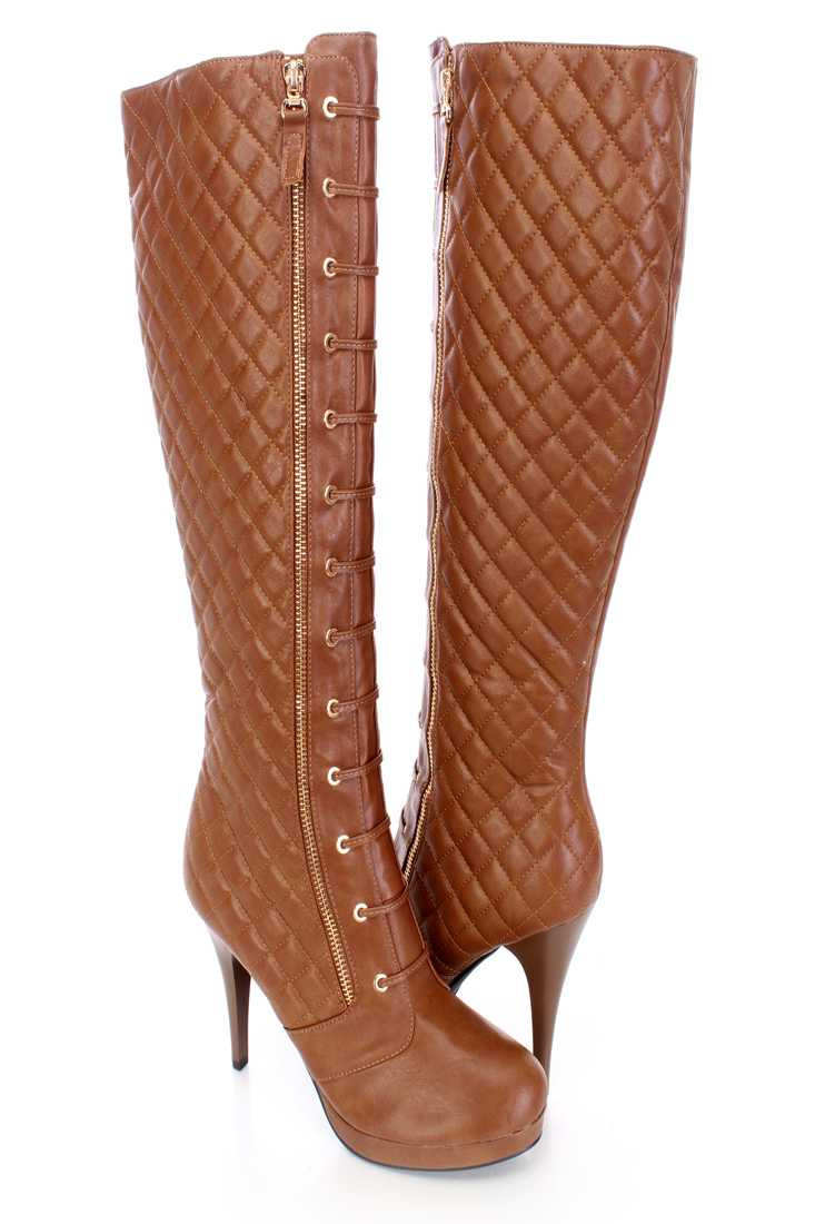 Camel Quilted Lace Up Boots Faux Leather