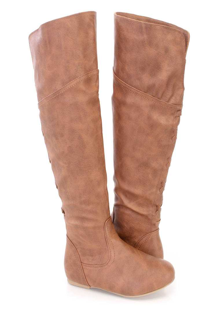 Tan Knee High Riding Boots Faux Leather