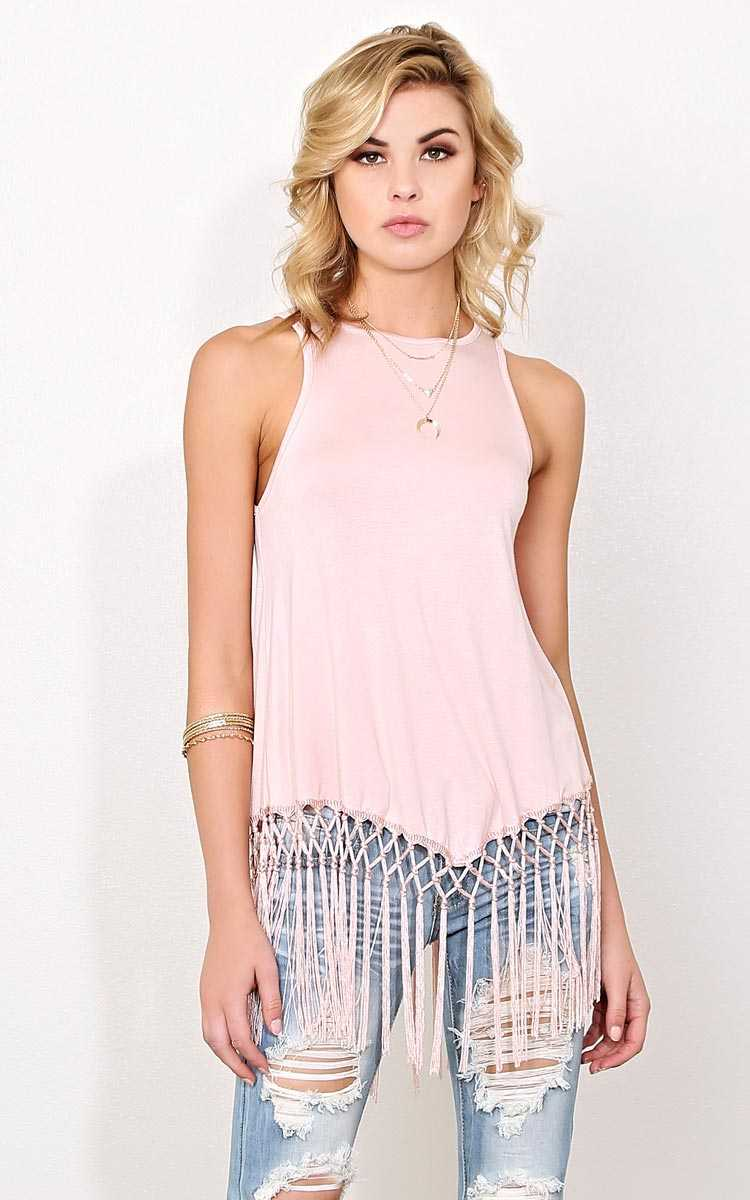 Fringe Spirit Knit Tank - LGE - Blush in Size Large by Styles For Less