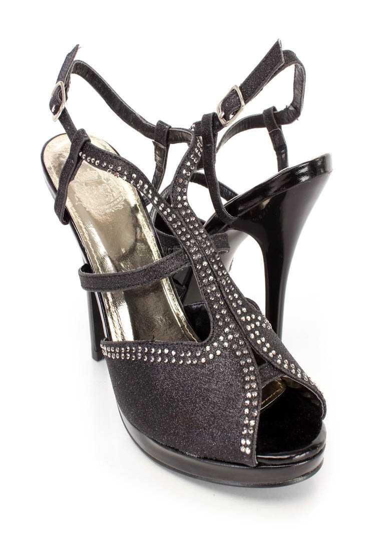 Black Slingback Peep Toe Rhinestone High Heels Glitter