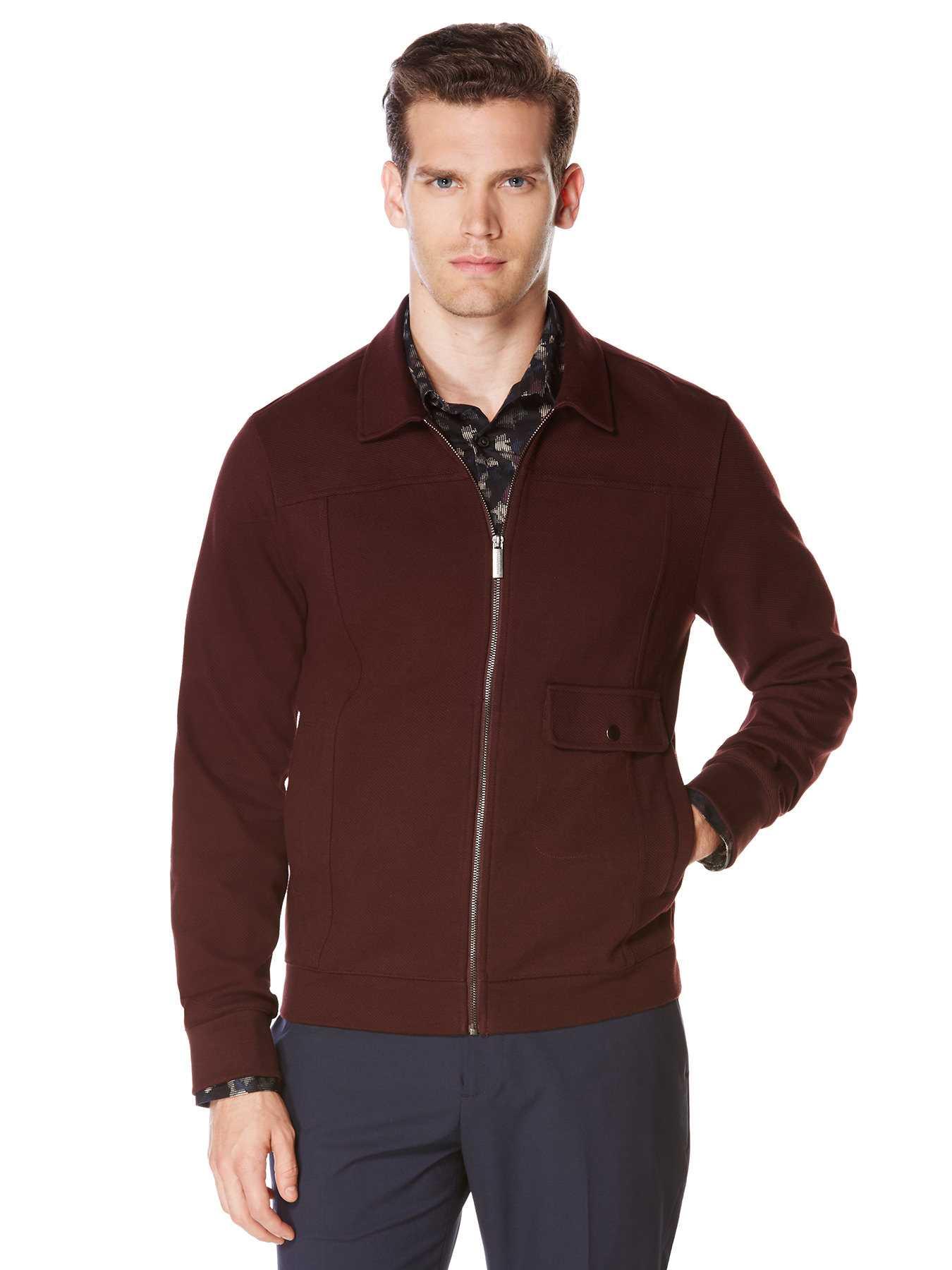 Perry Ellis Twill Knit Front Zip Jacket