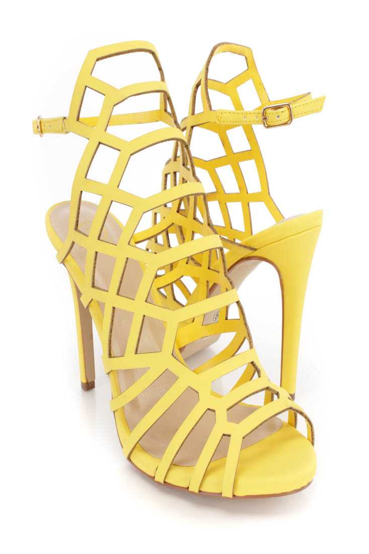 Yellow Strappy Single Sole High Heels Faux Leather