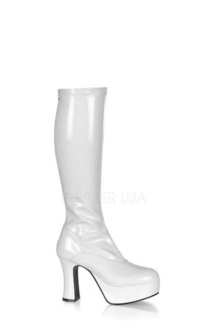 White Chunky Platform GoGo Boots Patent