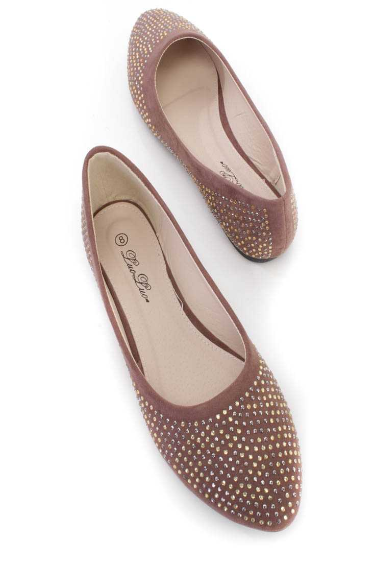 Brown Studded Almond Toe Faux Suede Flats
