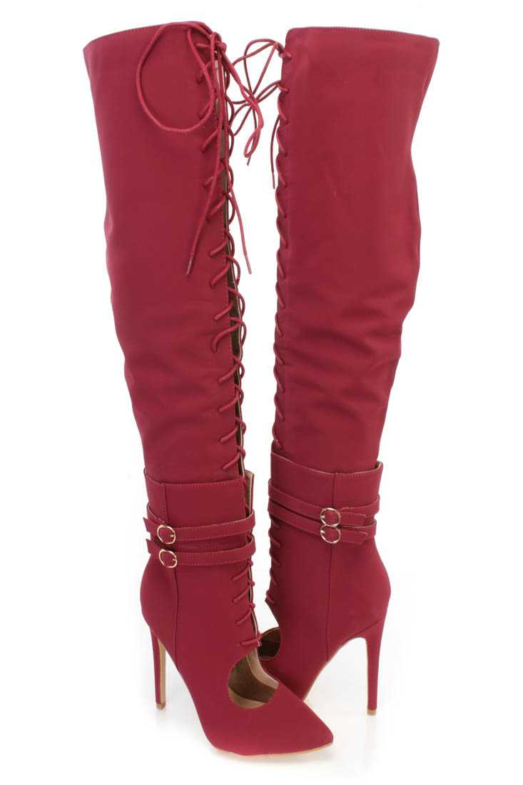 Wine Thigh High Lace Up High Heel Boots Nubuck
