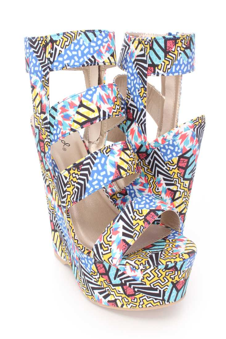 Blue Multi Strappy Platform Wedges Fabric