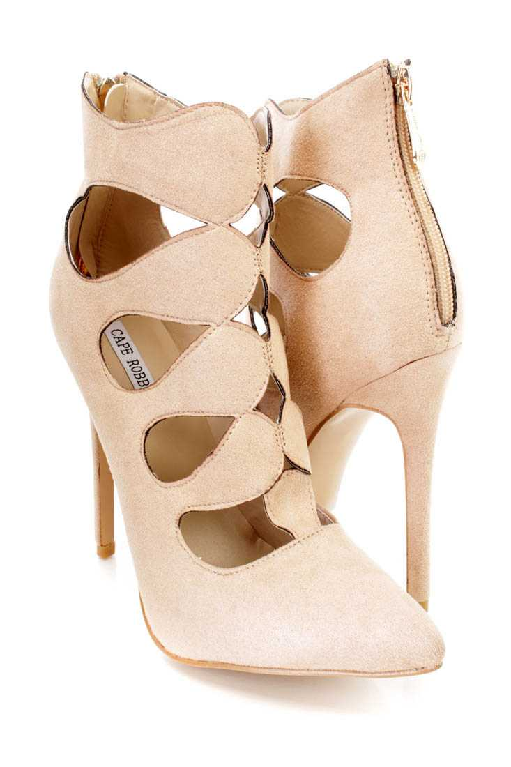 Nude Strappy Single Sole Ankle Booties Faux Suede