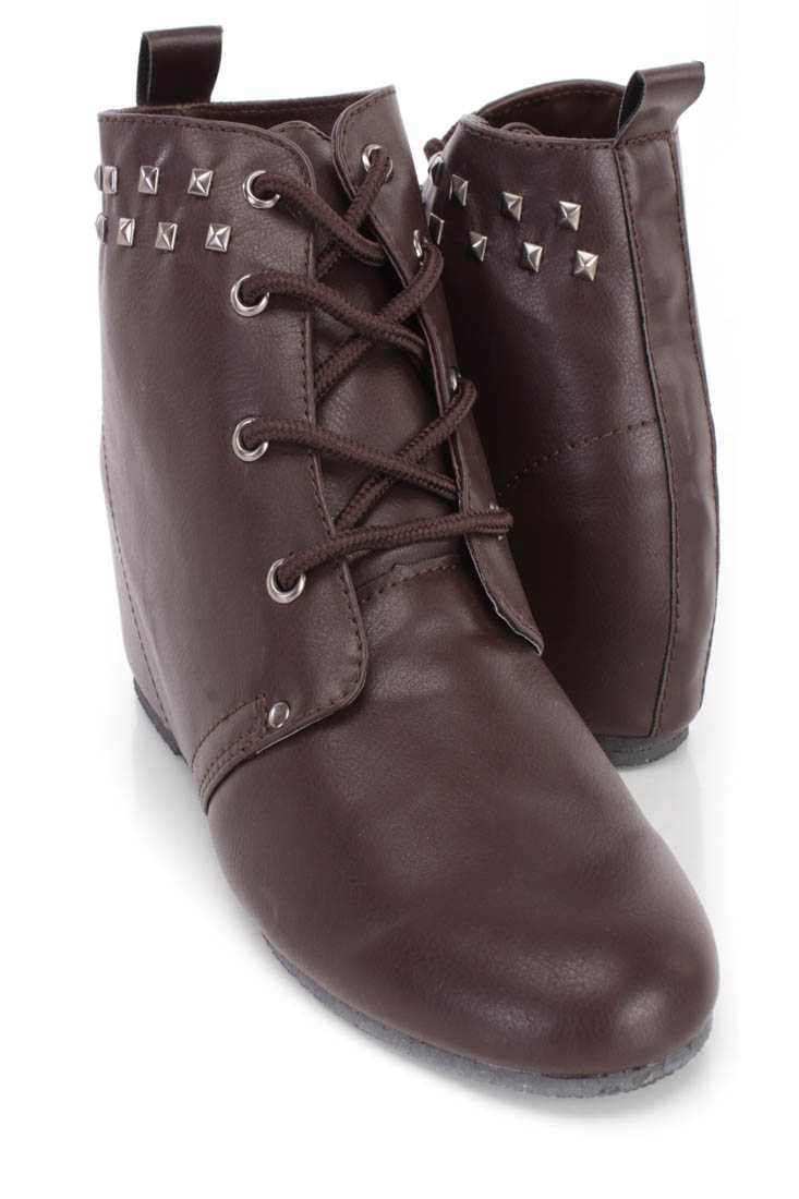 Brown Studded Lace Up Ankle Wedge Booties Faux Leather