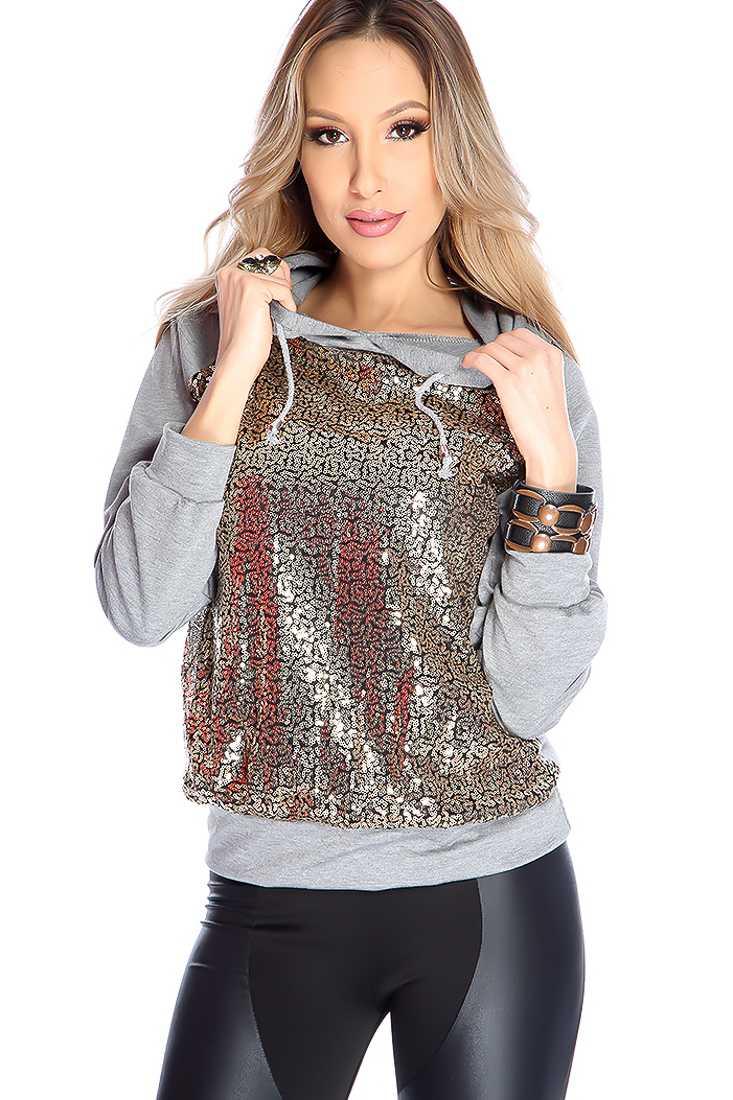 Stylish Gold Grey Long Sleeve Hoodie Casual Sweater