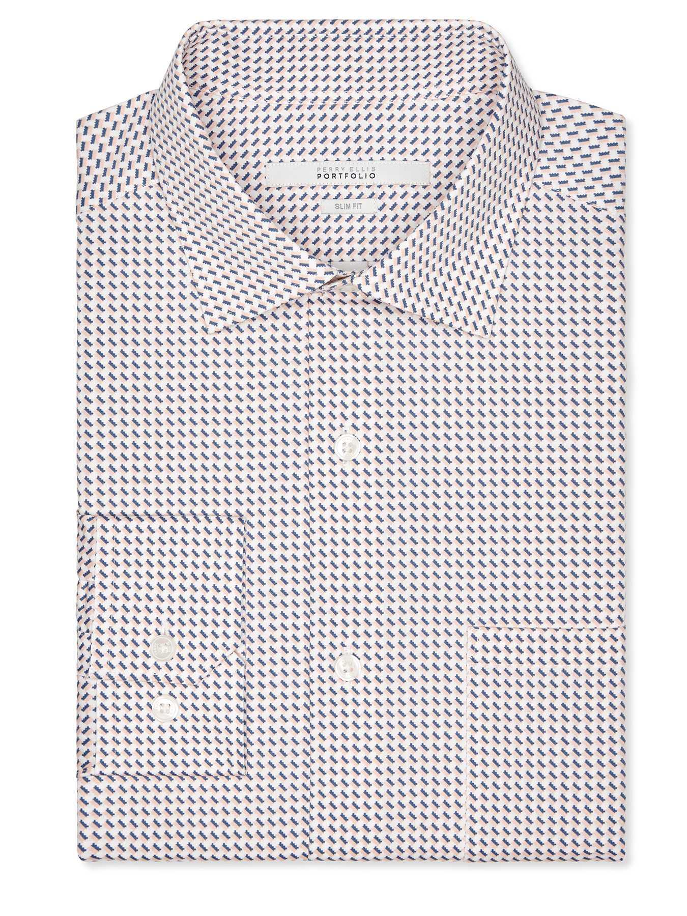 Perry Ellis Slim Fit Stamp Print Dress Shirt