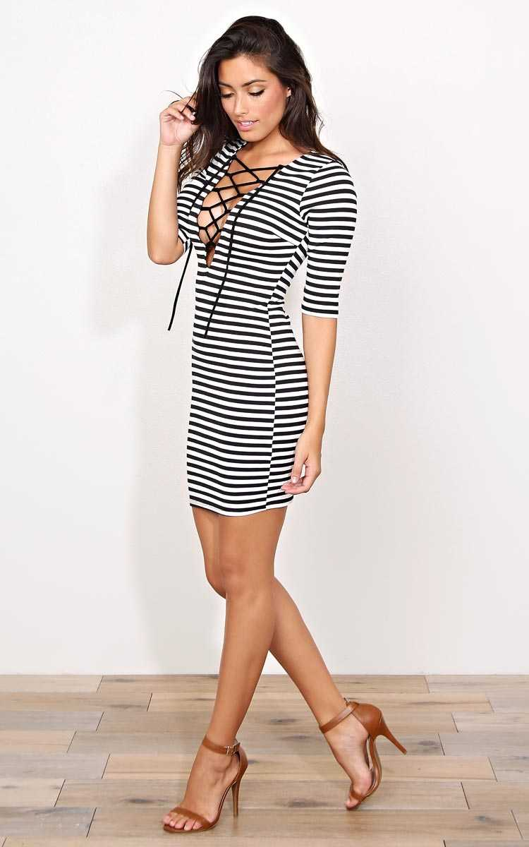 Turn It Up Lace Up Dress - SML - Black/White in Size Small by Styles For Less