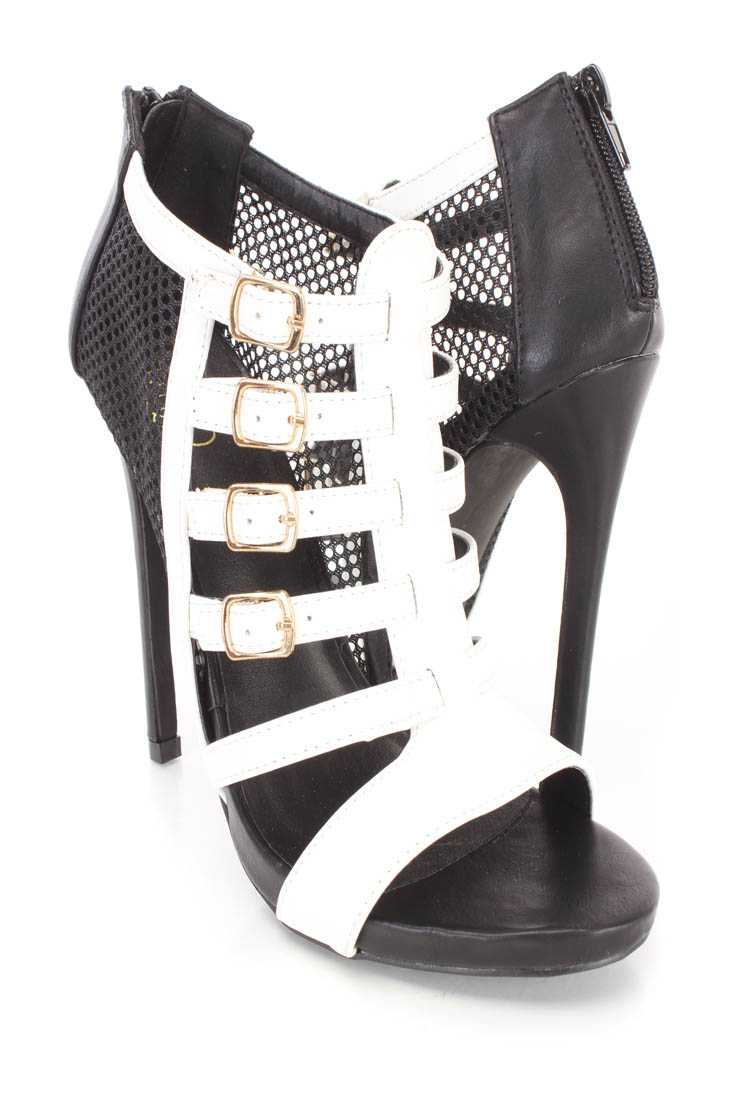 Black White Netted Strappy Single Sole Booties Faux Leather