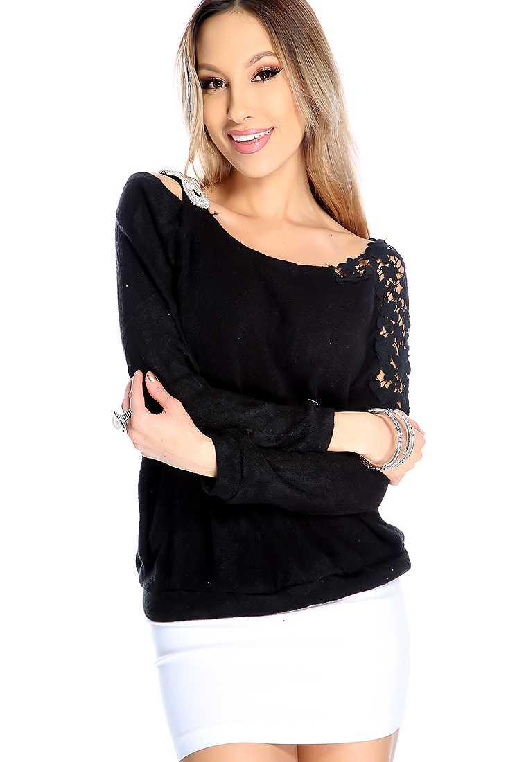 Black Long Sleeve Floral Crotchet Detail Sweater