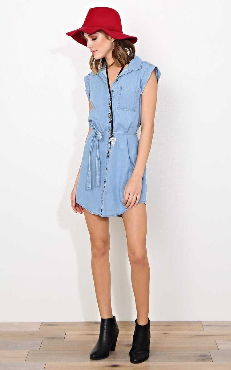 Sammy Chambray Button Up Dress - - Lt Wash in Size by Styles For Less