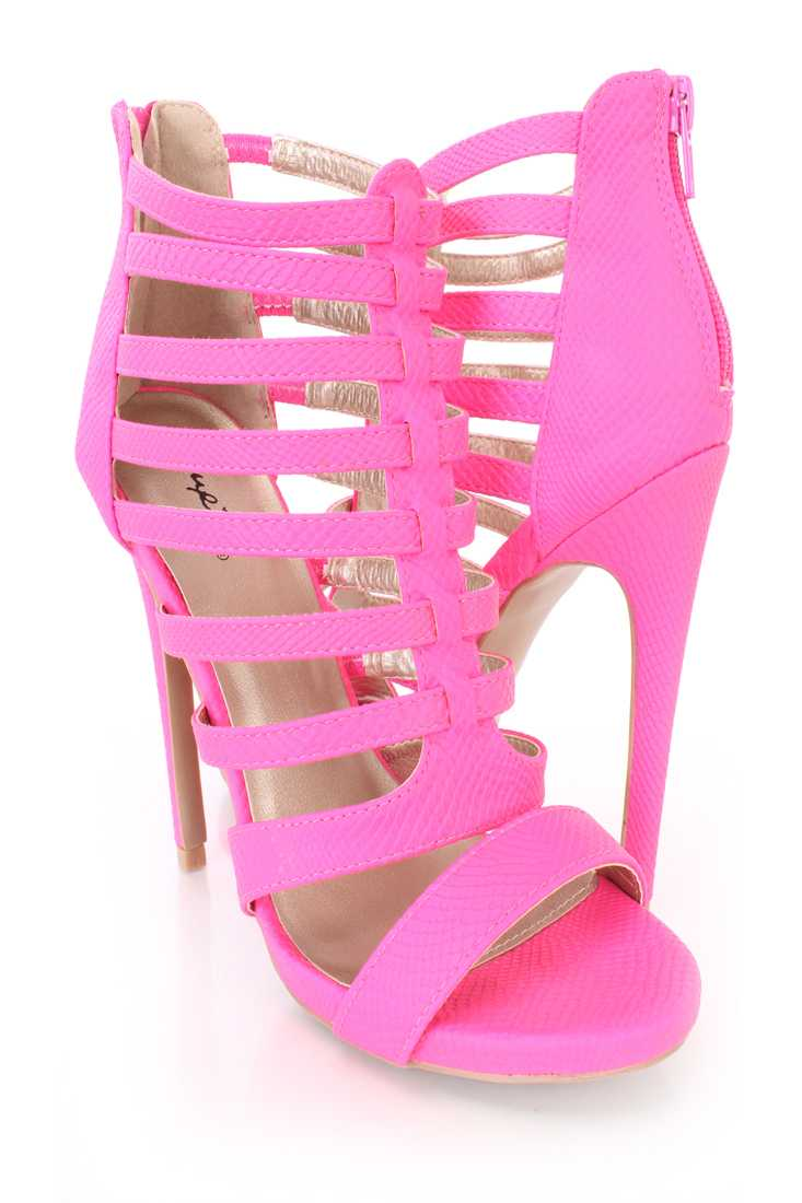 Hot Pink Strappy Snake Skin Textured Booties Faux Leather