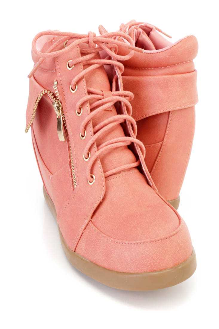 Coral Zipper Folded Sneaker Wedges Faux Leather