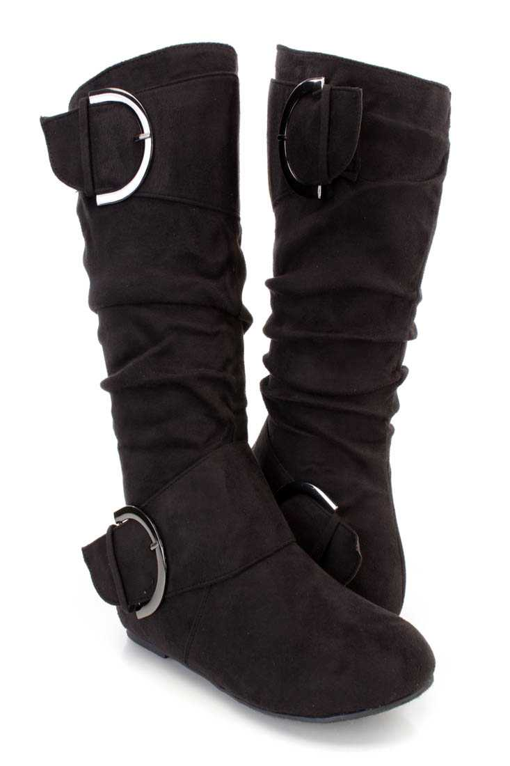 Black Buckle Strappy Casual Boots Faux Suede