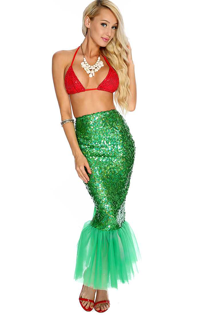 Red Green 2. Piece Sexy Mermaid Costume