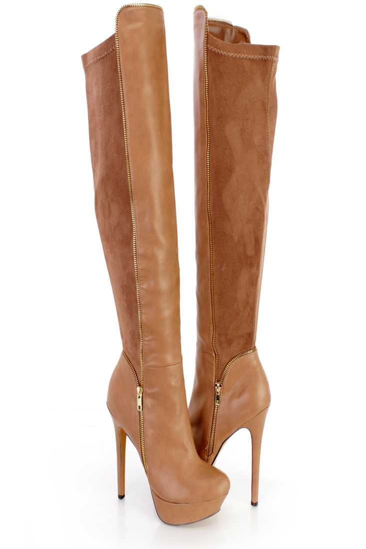 Taupe Platform Heel Boots Faux Leather Suede