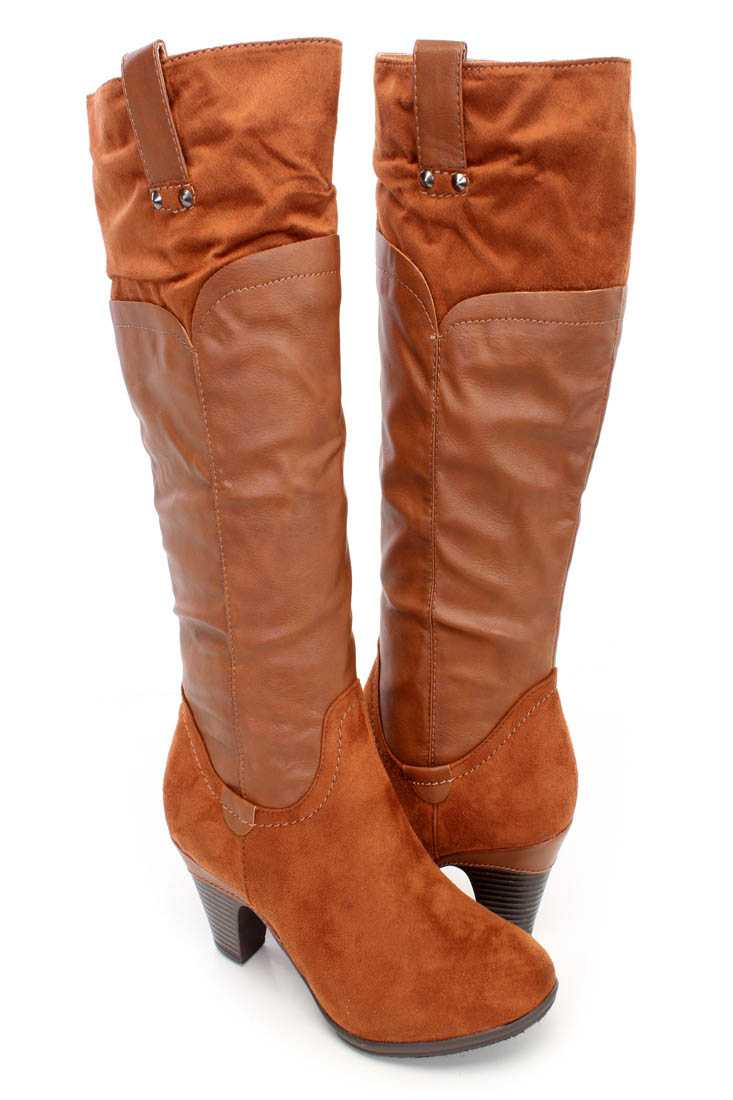 Cognac Two Tone Knee High Boots Faux Leather Suede