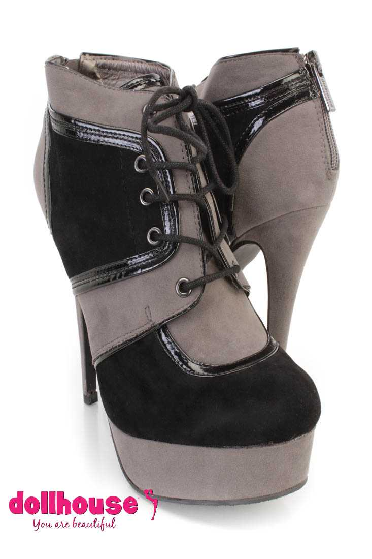 Black Lace Up Colorblock Ankle Booties Faux Suede