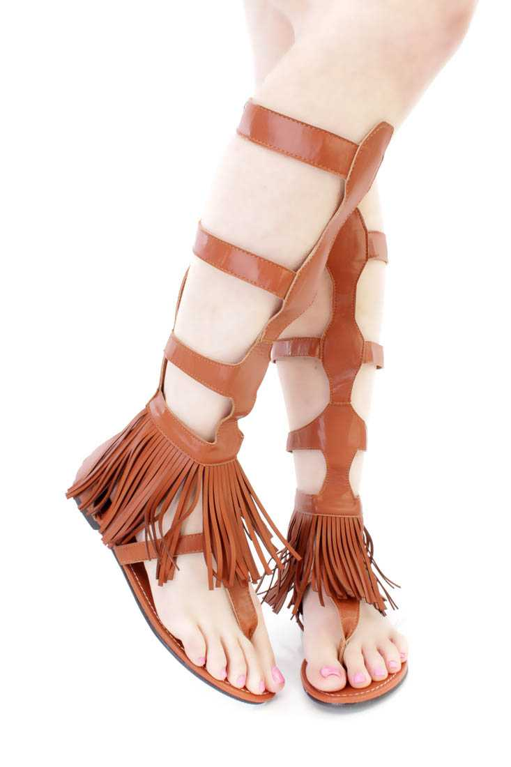 Camel Strappy Fringe Gladiator Sandals Faux Leather
