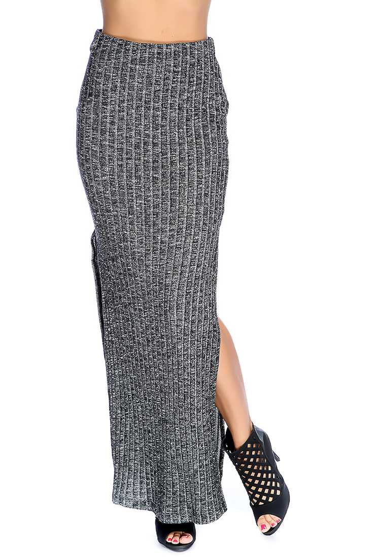 Black Double Side Slit Ribbed Casual Maxi Skirt