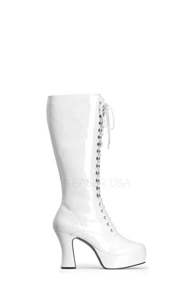 White Lace Up Chunky Platform Boots Patent