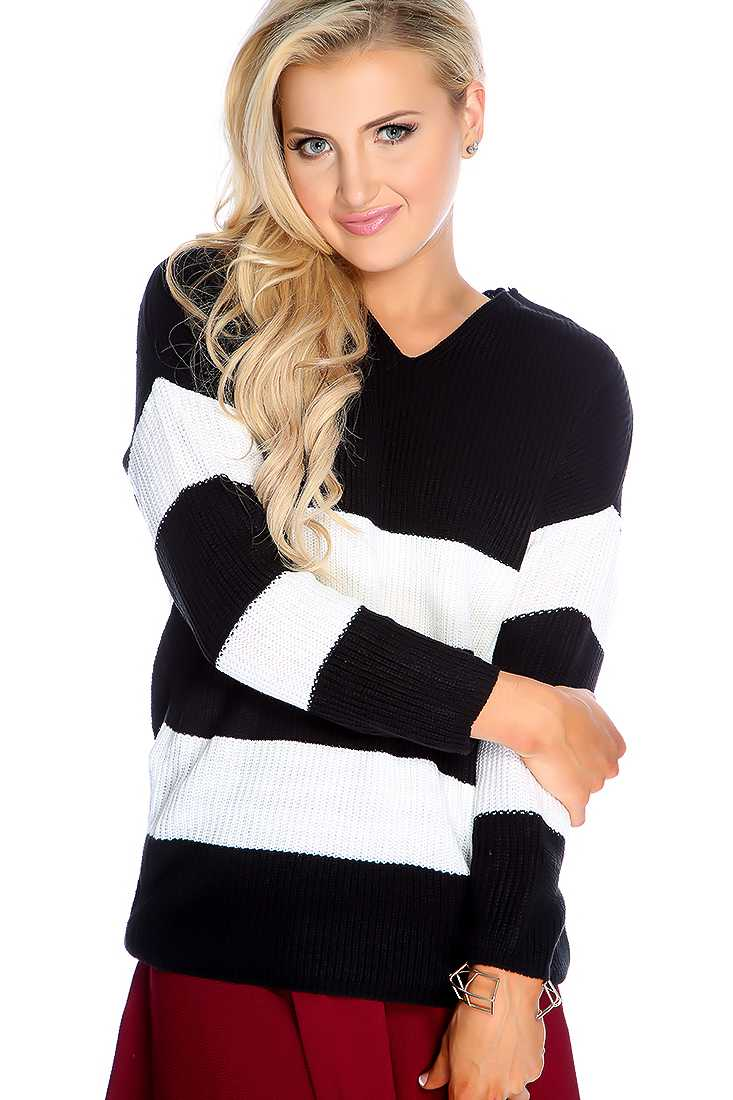 Black White Long Sleeve Two Tone Sweater Top