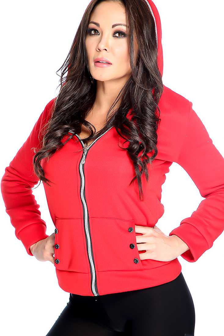 Stylish Red Long Sleeve Zip Up Sweater