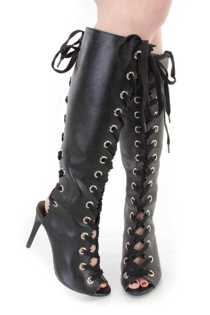 Black Lace Up Peep Toe Boots Faux Leather