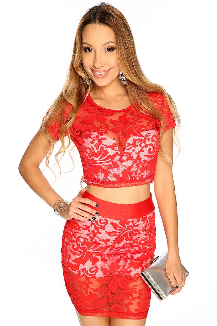 Red Paisley Embroider Short Sleeves Cute 2 Piece Dress