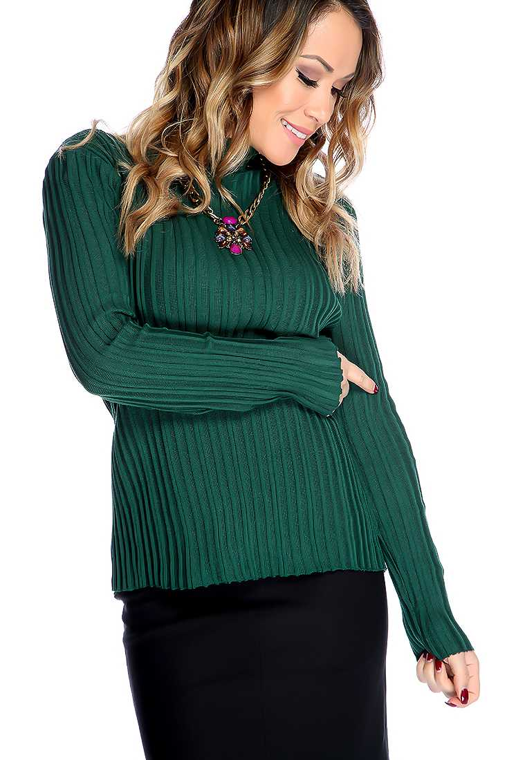 Green Long Sleeves Mock Neckline Textured Pattern Sweater