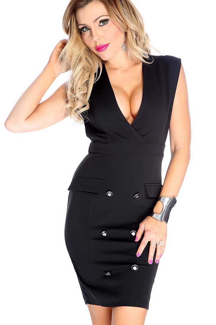 Sexy Black Sleeveless Button Detail Cocktail Dress