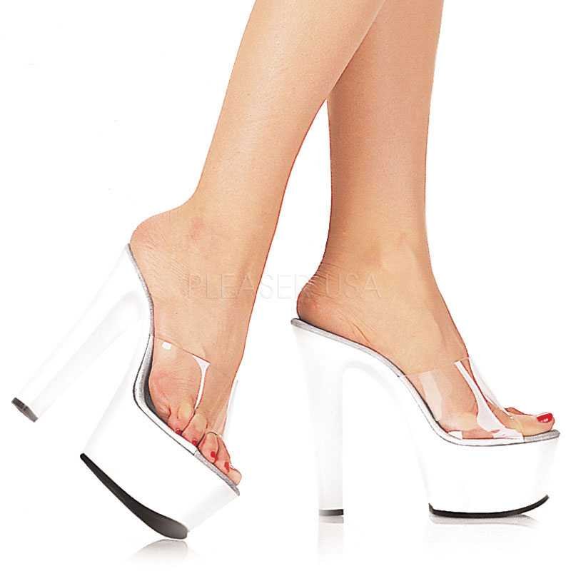 Clear White Peep Toe Platform 6 Inch High Heels Leather