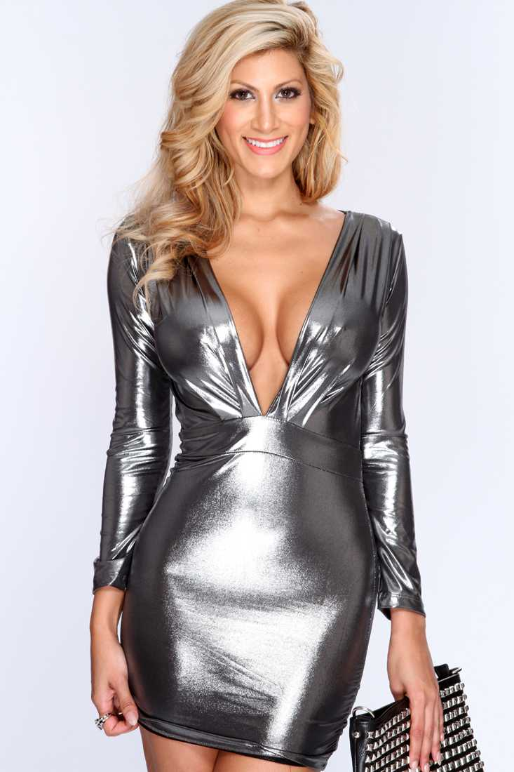 Gunmetal Metallic Plunge Neck Sexy Party Dress