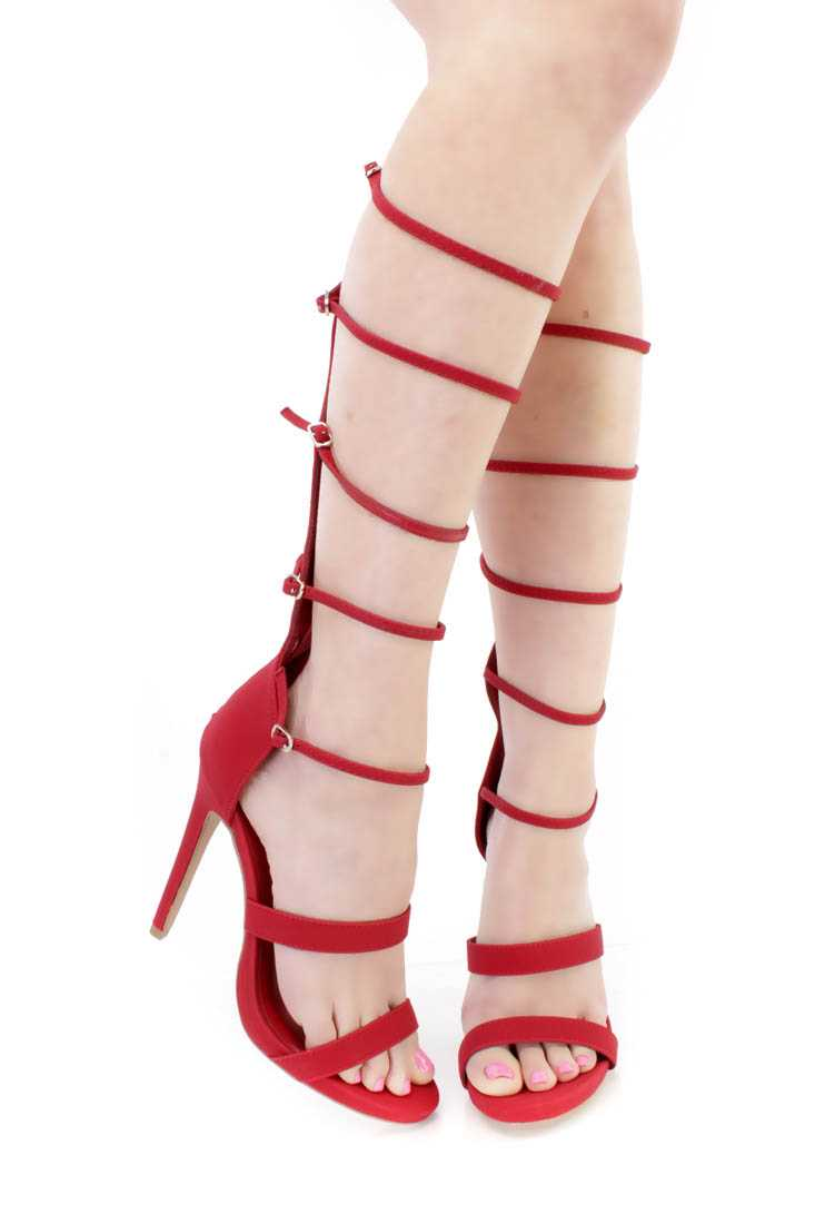 Red Strappy Gladiator Single Sole Heels Nubuck