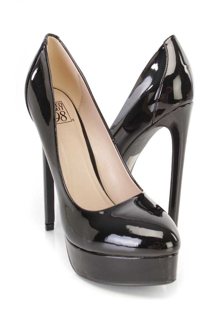 Black Platform Pump High Heels Patent Faux Leather