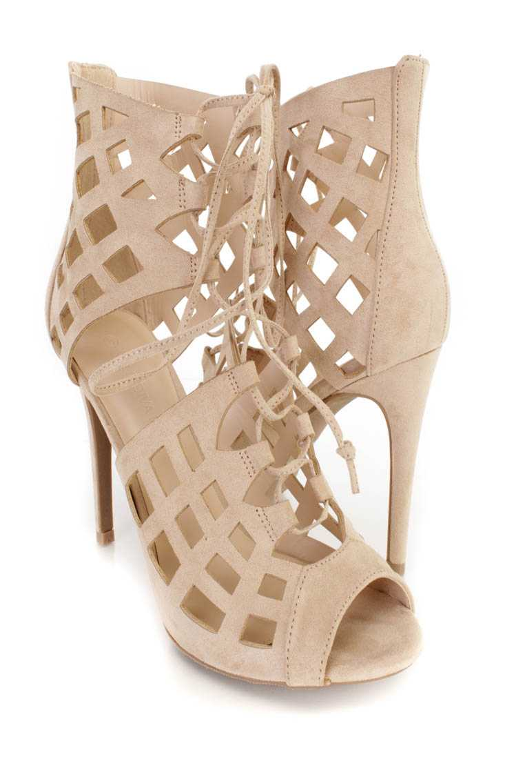 Natural Lace Up Peep Toe Heels Faux Suede