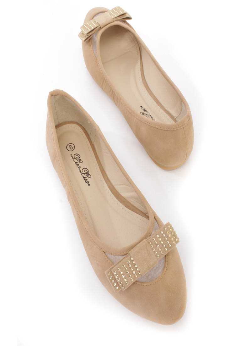 Beige Bow Tie Rhinestone Decor Ballerina Flats Faux Leather