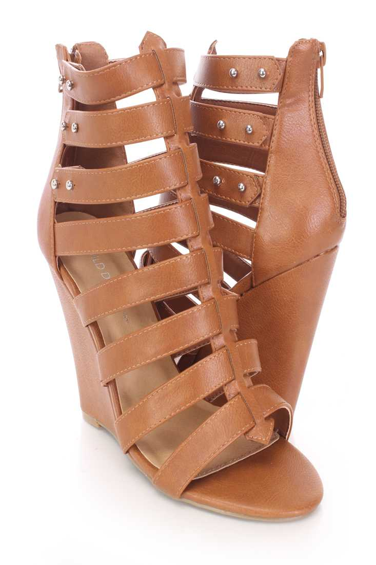 Whiskey Strappy Peep Toe Single Sole Wedges Faux Leather