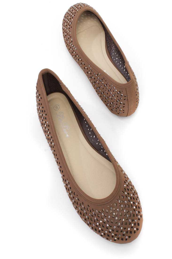 Dark Brown Perforated Ballerina Flats Nubuck