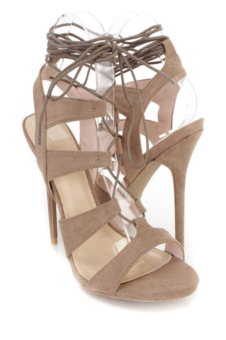 Taupe Peep Toe Lace Up Single Sole Heels Faux Suede
