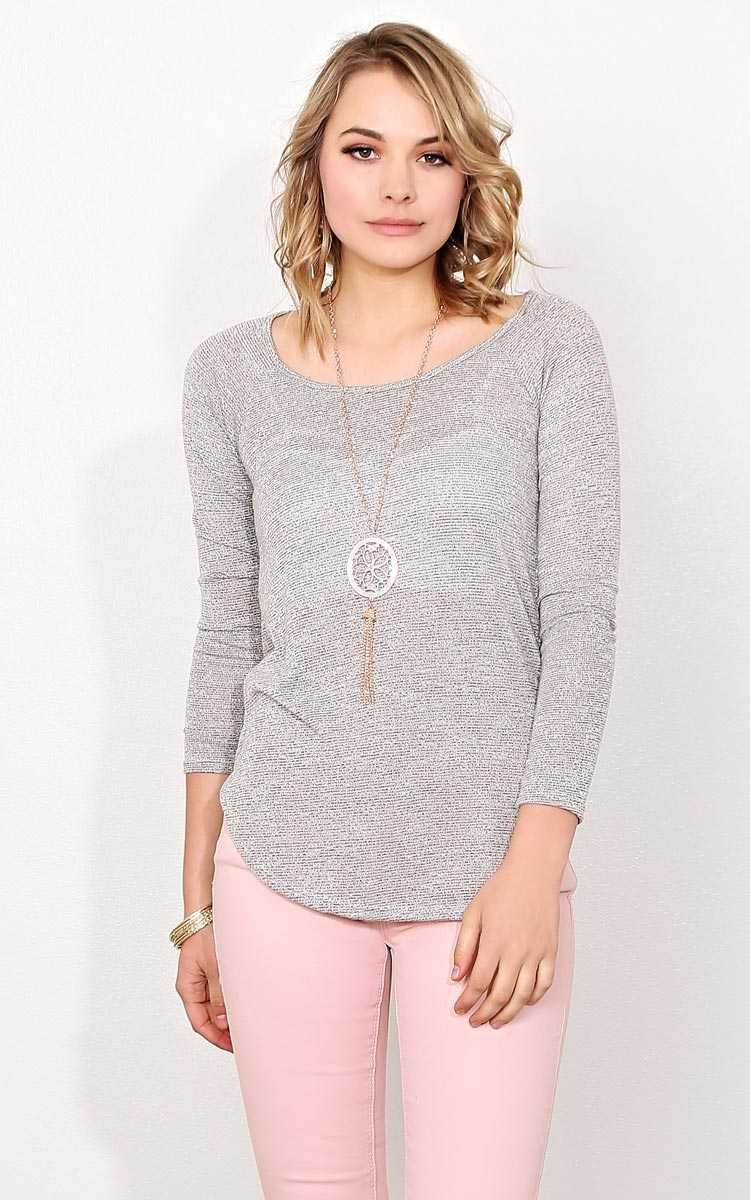 Dawn Slub Knit Necklace Top - - Oatmeal in Size by Styles For Less