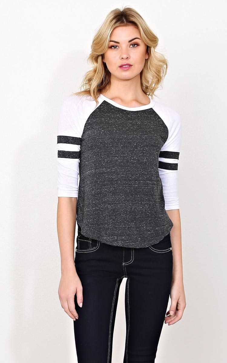 Push 'Em Back Football Raglan - LGE - Black Combo in Size Large by Styles For Less