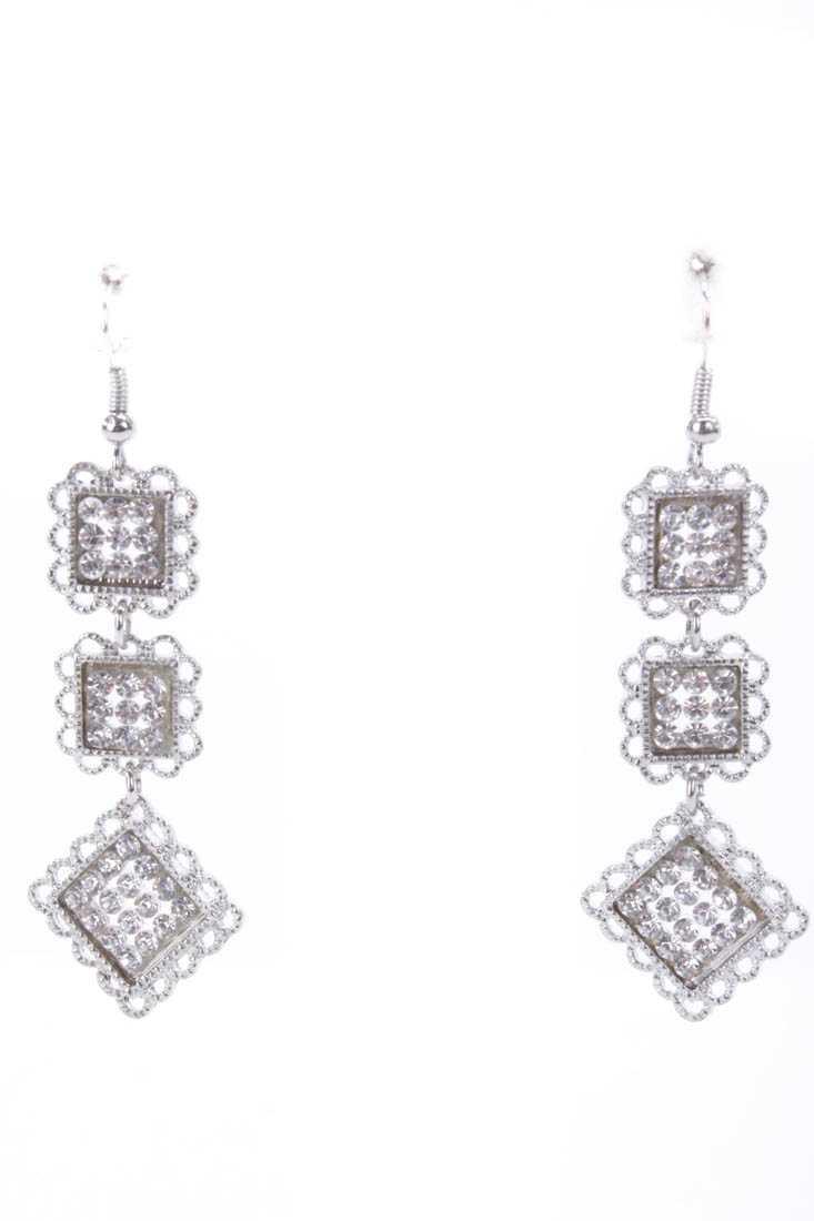 Silver High Polish Rhinestone Charm Dangle Earrings
